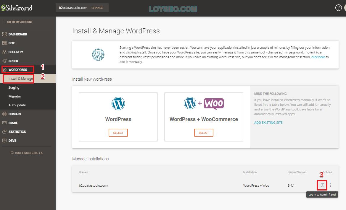 siteground的site-tools后台登录wordpress-1