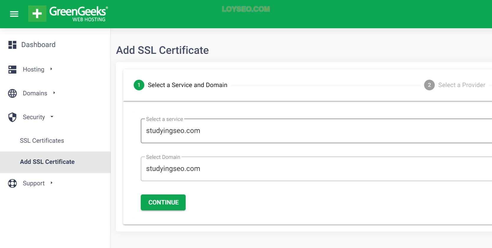 adding lets encrypt ssl greengeeks account