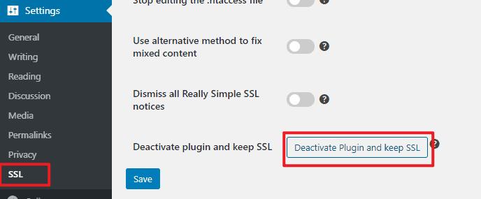 deactivate plugin and keep ssl