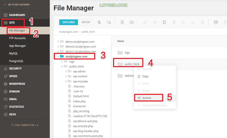 siteground sitetools file archive