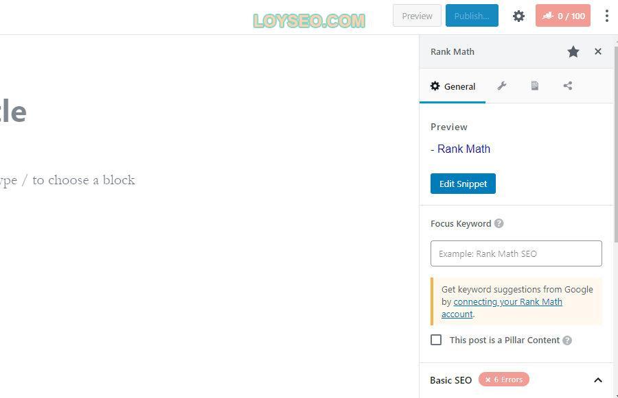 基于Rank Math块的设置的示例