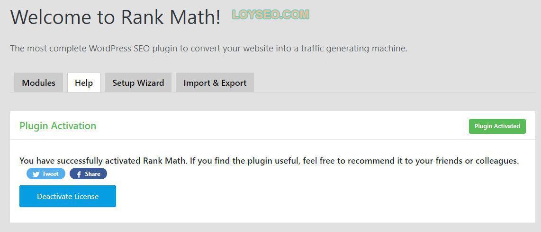 Rank Math成功激活页面
