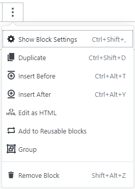 wordpress gutenburg block option