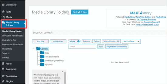 The Media Library Folders page within your WordPress dashboard