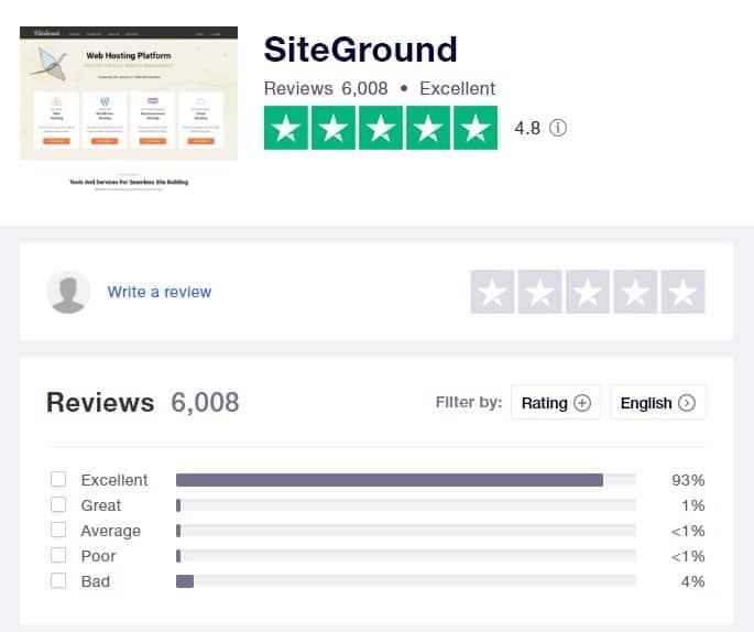 siteground trustpilot