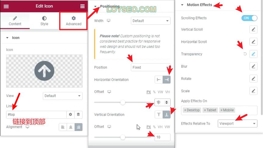 elementor back to top tutorial 3 - 如何用Elementor制作Wordpress网站的返回顶部按钮(3分钟解决)