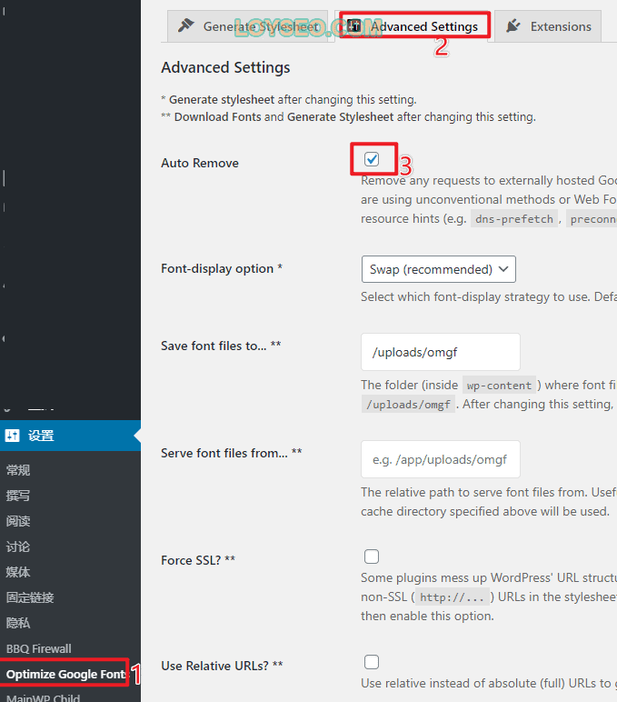 remove google font wordpress