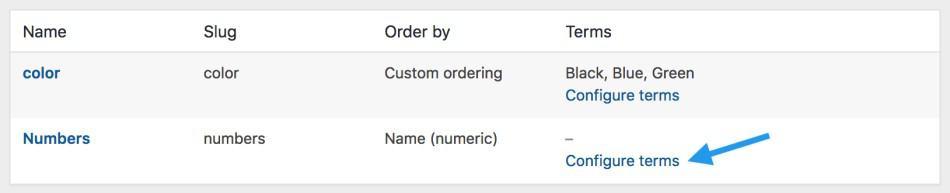 attributes configure terms - 如何在WooCommerce中管理产品类别、标签和属性