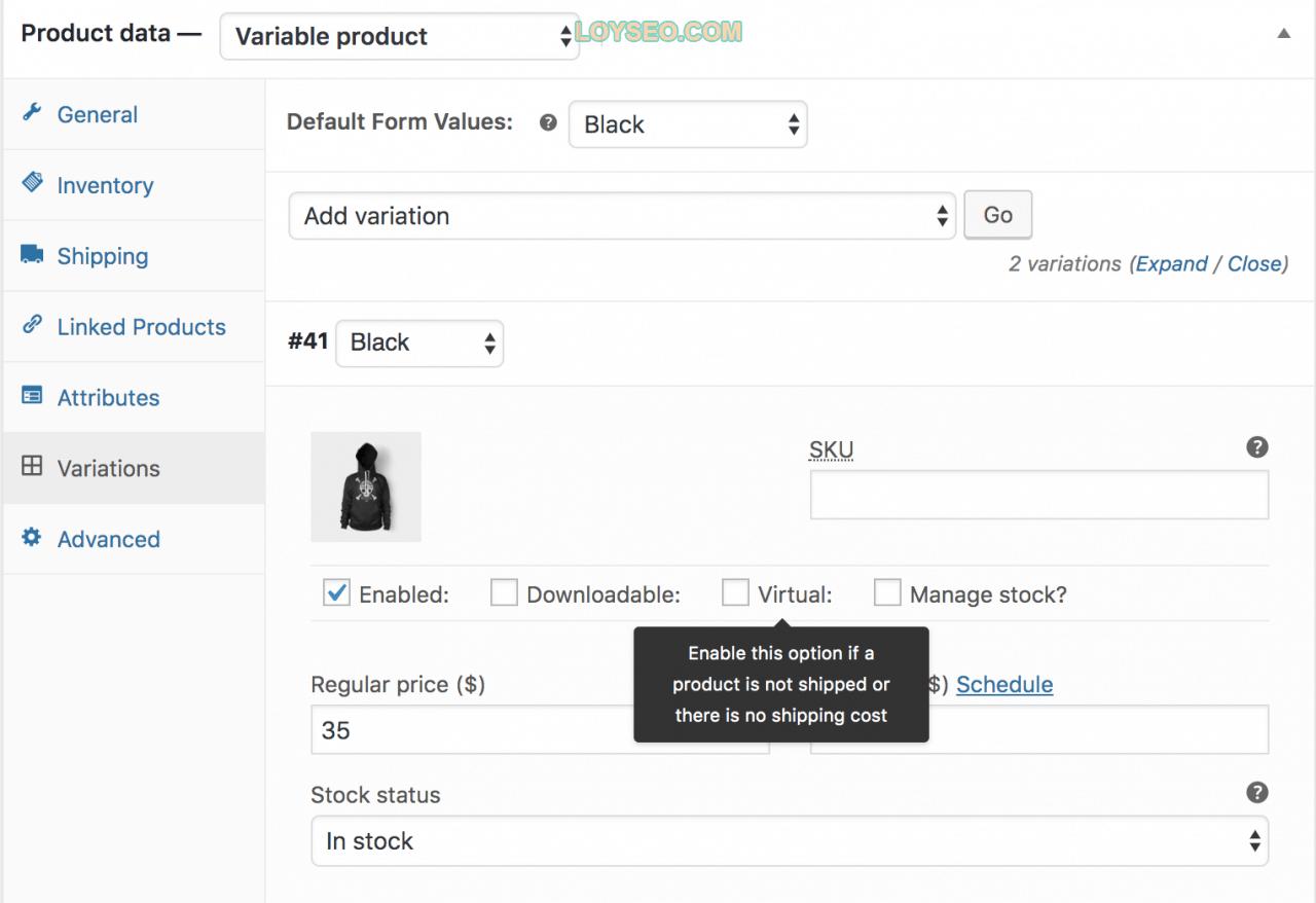 variable product virtual - 如何用WooCommerce管理和添加产品