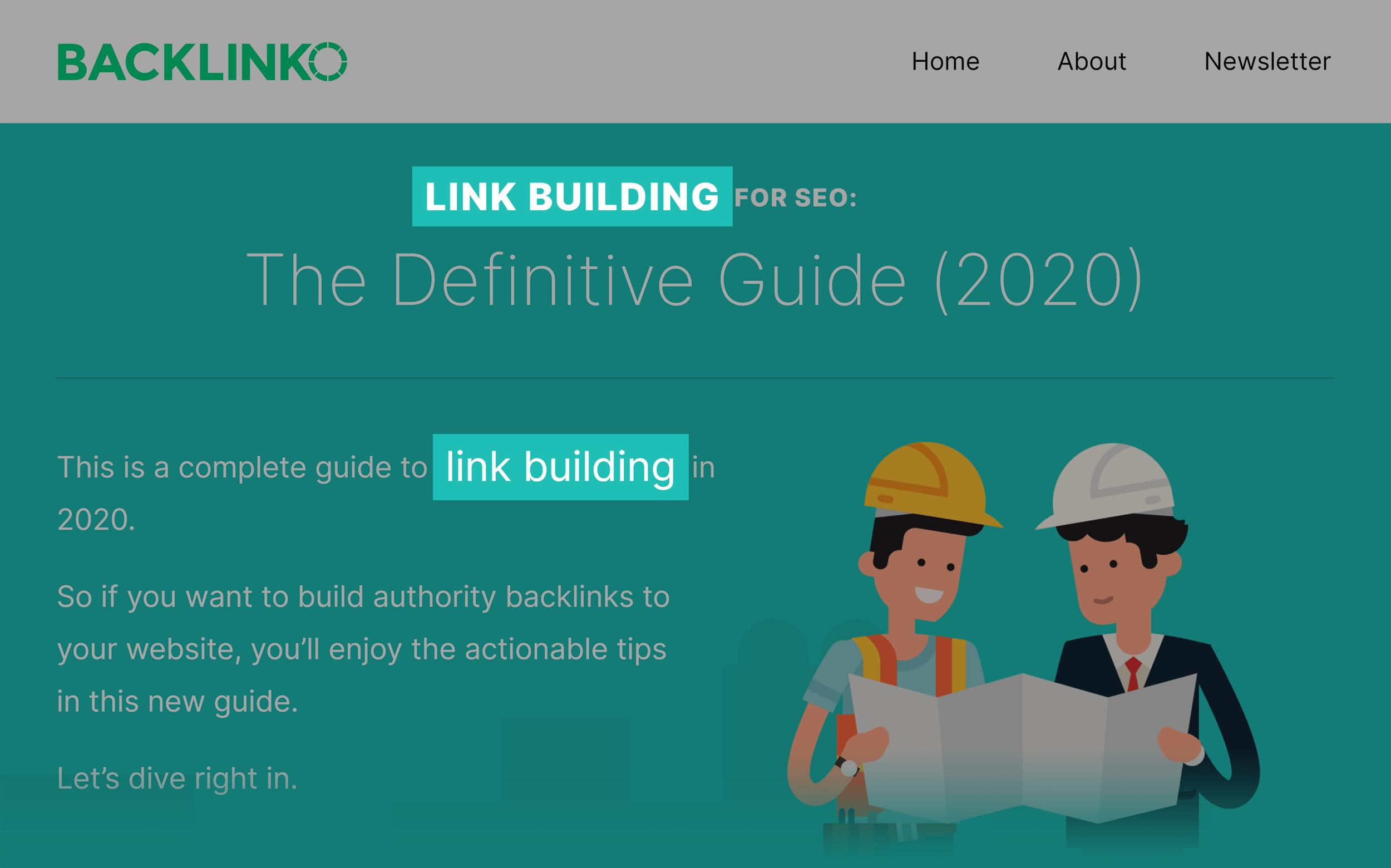 Backlinko Link Building Guide Keywords