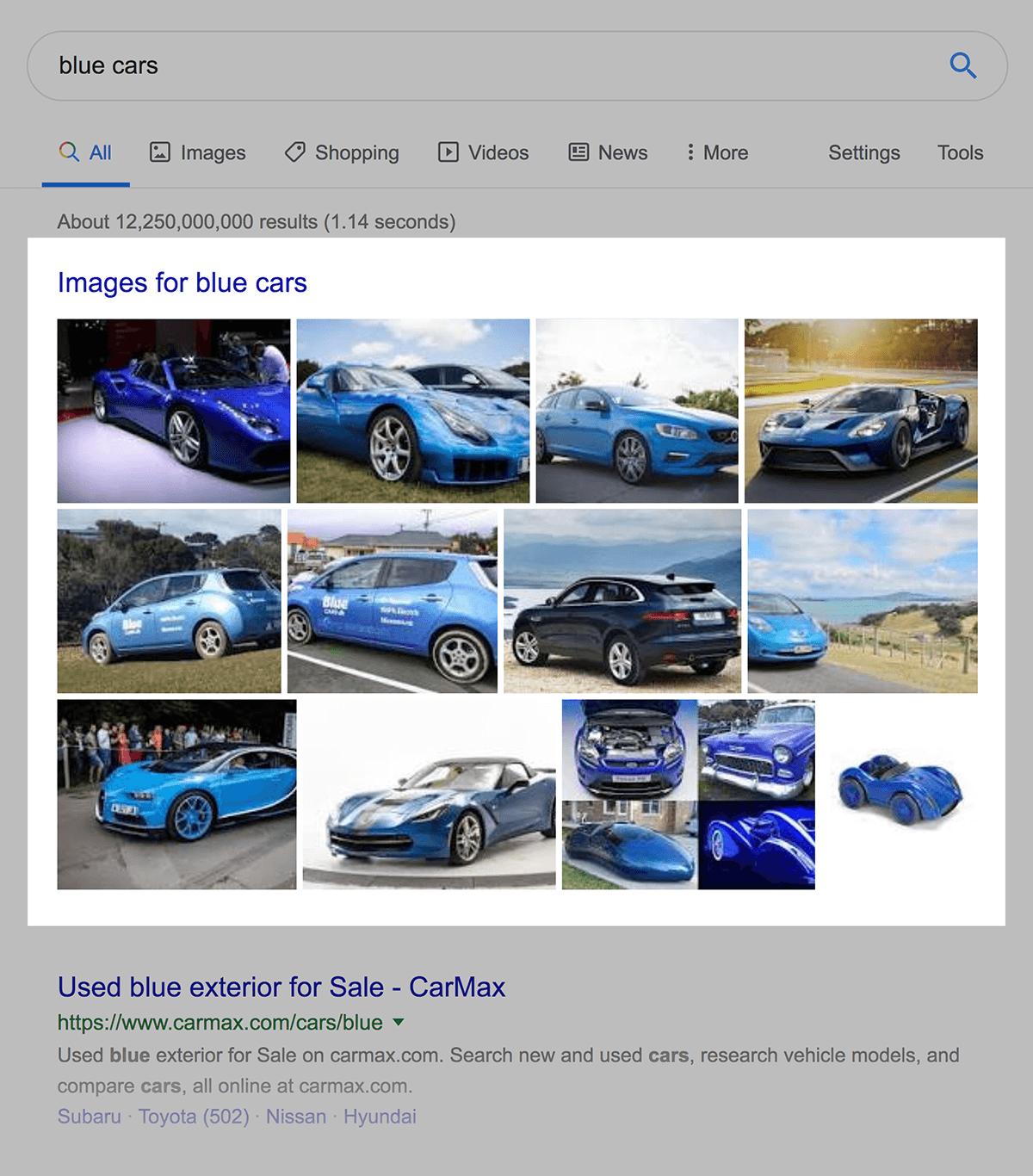 google images result for blue cars - 什么是SERP?