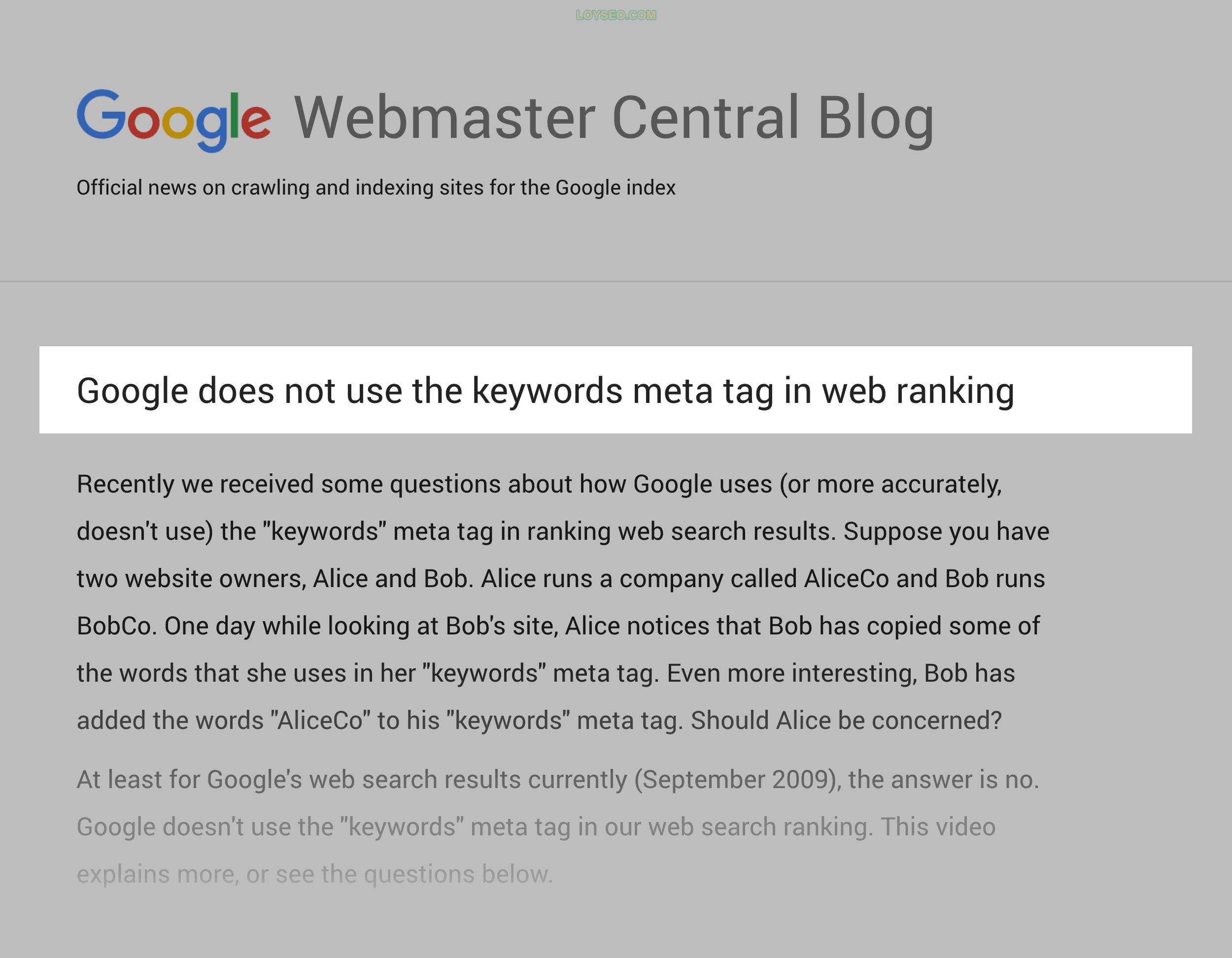 Google – Meta keywords