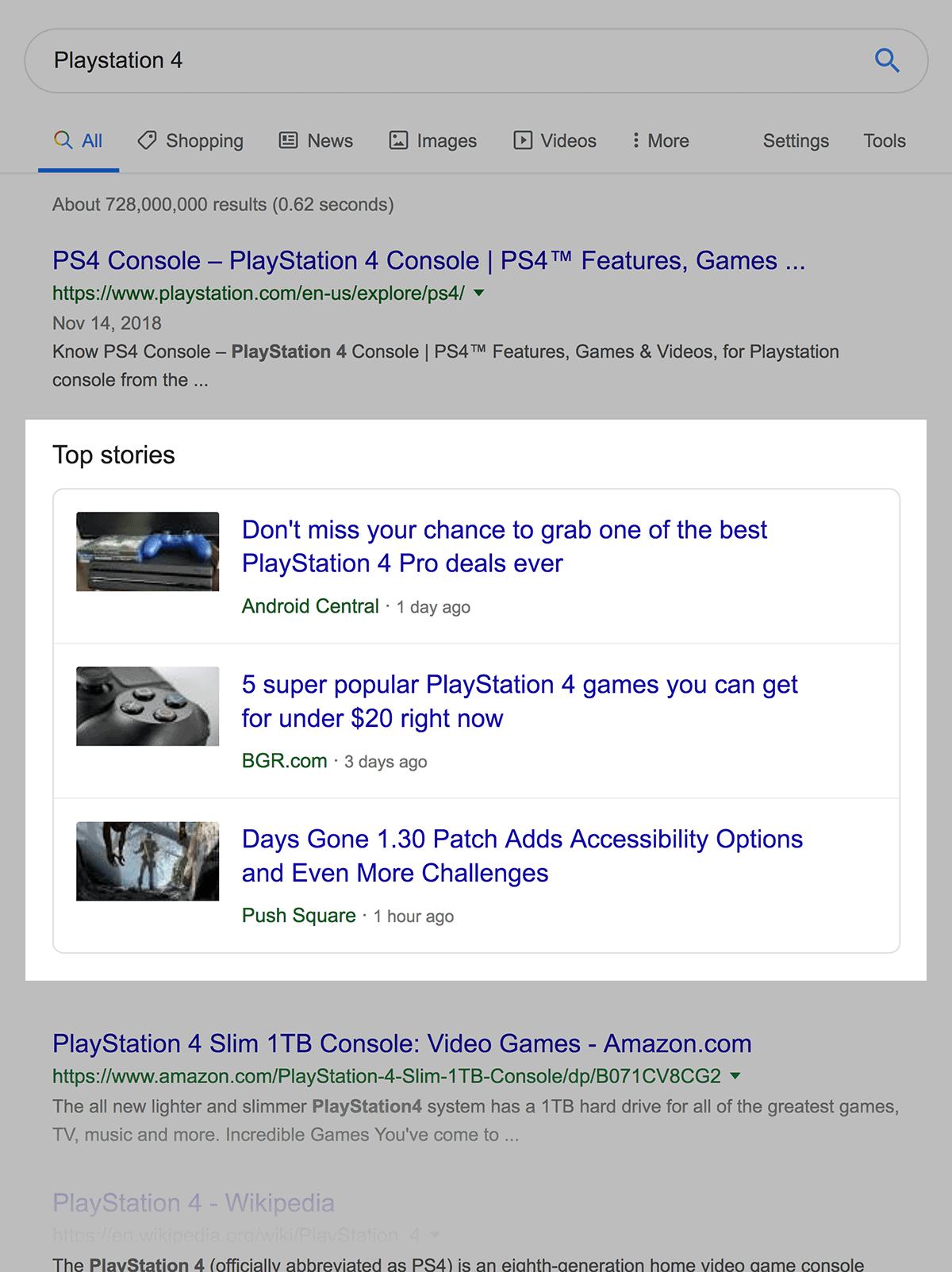 playstation 4 top stories - 什么是SERP?