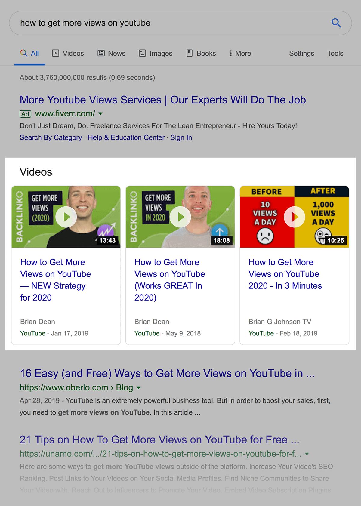 videos results in serp - 什么是SERP?