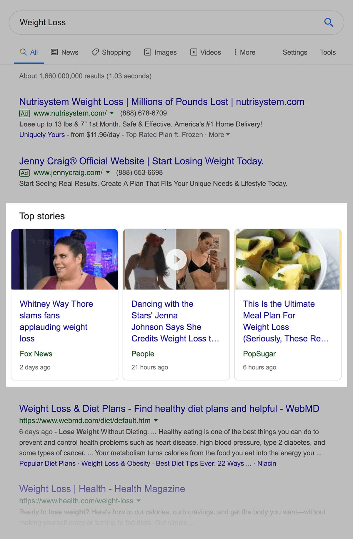 weight loss top stories - 什么是SERP?