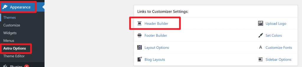 astra header builder