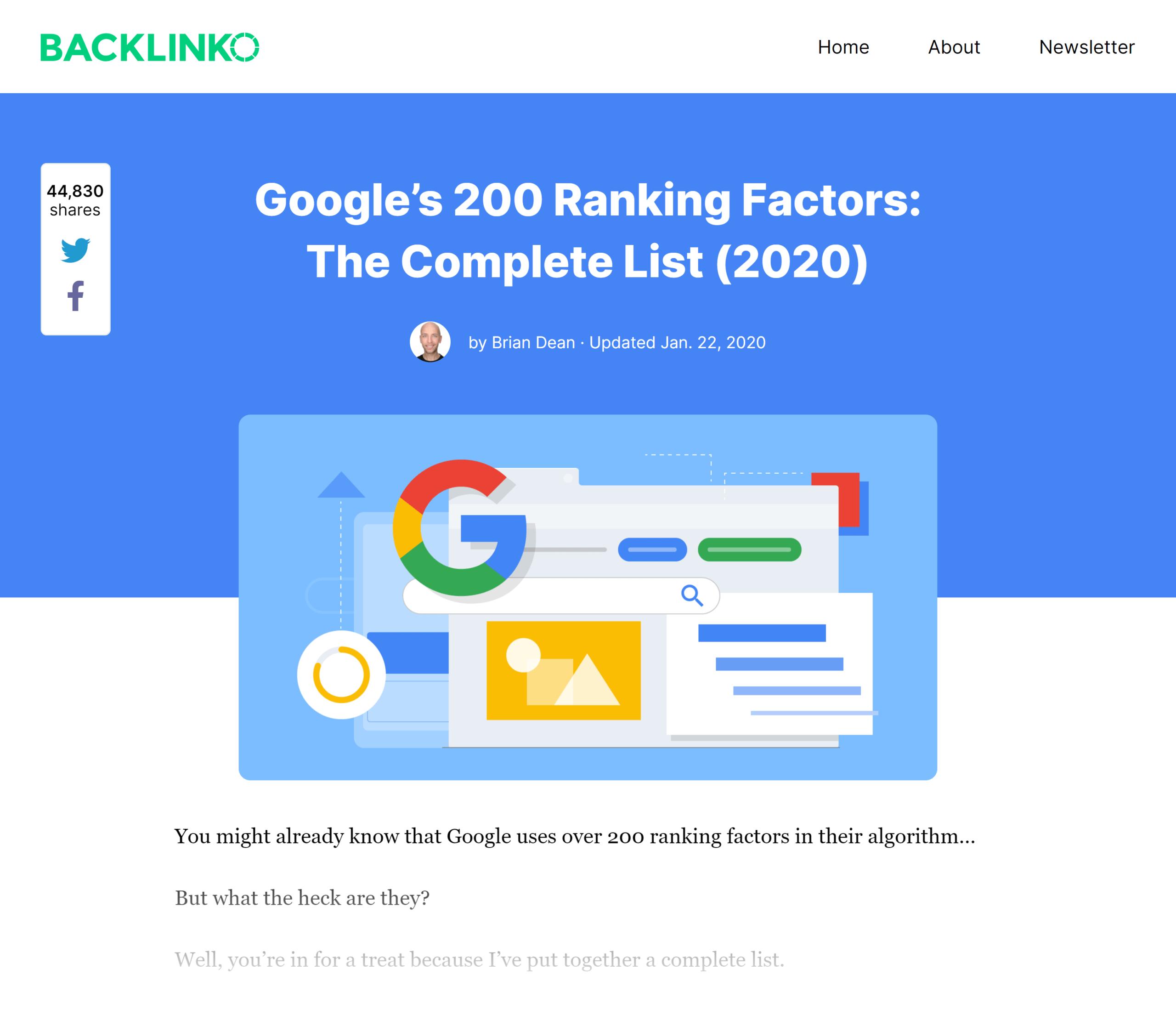 Backlinko – Google ranking factors post